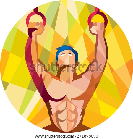 Low polygon style illustration of a crossfit athlete body training weight exercise hanging on gymnastic ring dip kipping muscle up facing front inside circle done in retro style on isolated background - stock photo