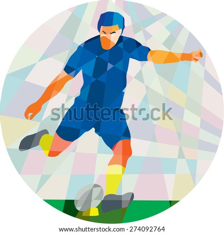 Low polygon style illustration of a rugby player kicking ball front view set inside circle on isolated background. - stock photo