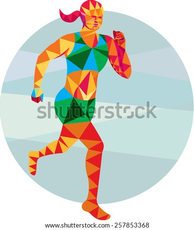 Low polygon style illustration of female marathon triathlete runner running facing front set inside circle on isolated background. - stock photo