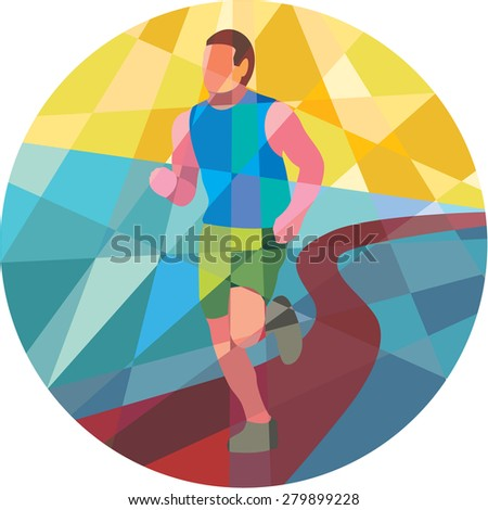 Low polygon style illustration of marathon triathlete runner running in action set inside circle. - stock photo