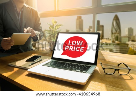 LOW PRICE Thoughtful male person looking to the digital tablet screen, laptop screen,Silhouette and filter sun - stock photo