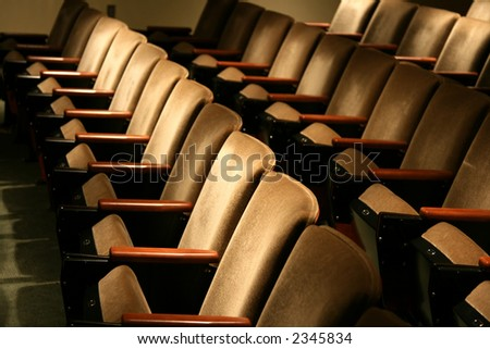 low profile of plush brown chairs - stock photo
