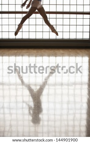 Low section of ballerina practicing in rehearsal room - stock photo
