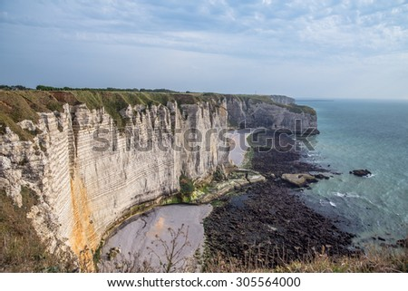 low tide at the rocky coast of Normandy