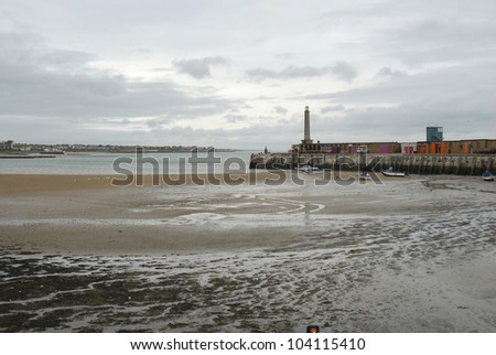 Low tide in Margate harbour, Kent, UK - stock photo