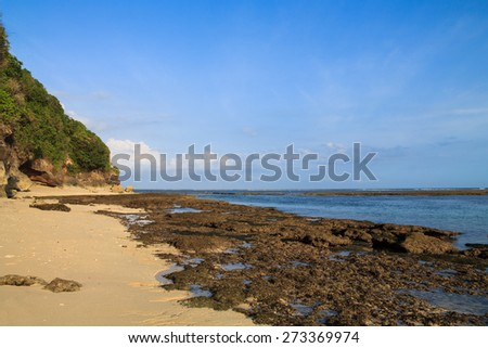 Low tide on Greenball beach, Bali island, Indonesia - stock photo