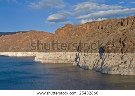 Low water level at Lake Mead Arizona showing results of ongoing drought - stock photo