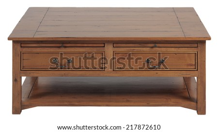 Low wooden table vintage country style - stock photo