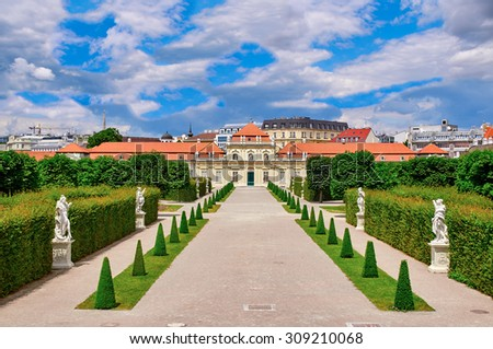Lower Belvedere Vienna, Austria on a sunny day with blue sky. No people, empty sight - stock photo