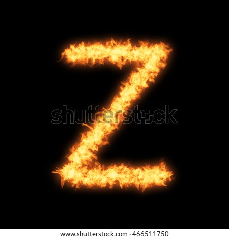Lower case letter z with fire on black background- Helvetica font based