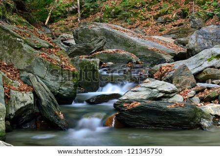 Lower end of Stowe's Moss Glen Falls in Vermont - stock photo