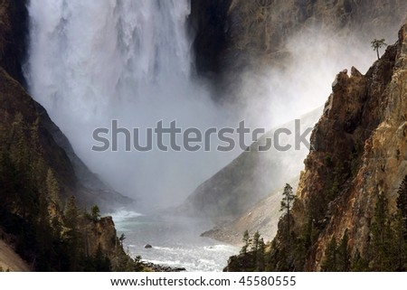 Lower Fall at Yellowstone National park - stock photo