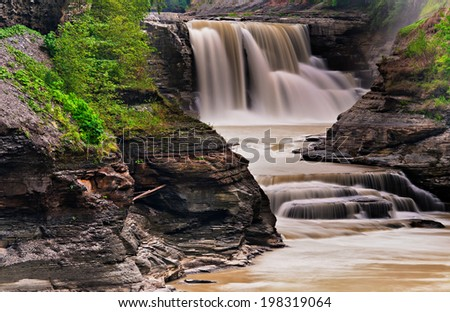 Lower Falls, at Letchworth State Park, New York - stock photo
