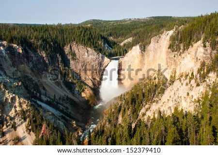 Lower falls of Yellowstone river in Yellowstone national park - stock photo