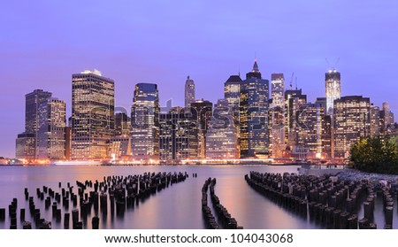 Lower Manhattan at night in New York City