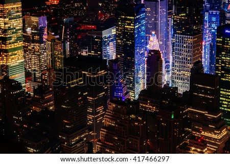 Lower Manhattan at night seen from Empire State Building in New York city, USA