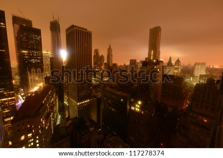 Lower Manhattan following Power Outage as a result of Hurricane Sandy. - stock photo