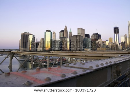 Lower Manhattan in a sunny, early morning, New York, United States