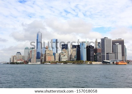 Lower Manhattan in New York - stock photo