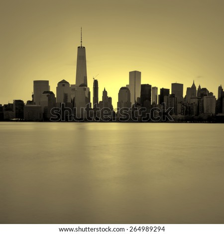 Lower Manhattan in New York City with gold filter - stock photo