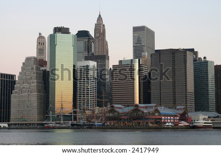 Lower Manhattan in the glow of sunrise
