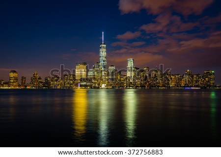 Lower Manhattan, New York, USA - evening photo with dramatic sky