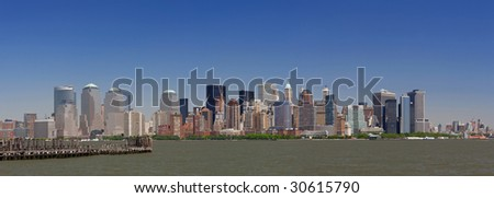 Lower Manhattan panorama, showing the Financial District - stock photo
