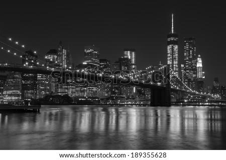 Lower Manhattan Panoramic Skyline and Brooklyn Bridge, New York - stock photo