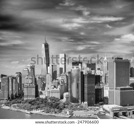 Lower Manhattan skyline as seen from Helicopter. - stock photo
