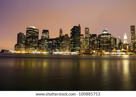 Lower Manhattan skyline at dusk, New York City, USA