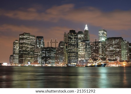 Lower Manhattan skyline At Night - stock photo
