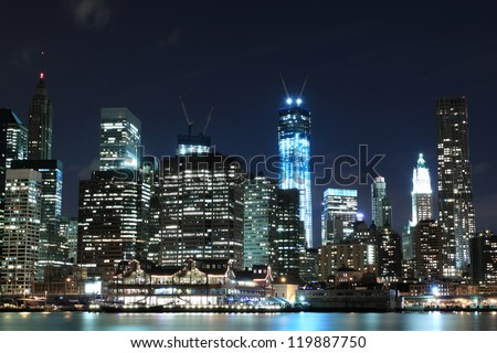 Lower Manhattan Skyline At Night, New York City - stock photo