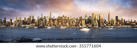 Lower Manhattan skyline. Giant panoramic view USA - stock photo