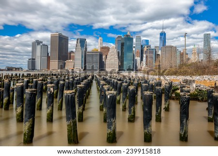 Lower Manhattan skyline,view from Brooklyn Bridge Park - stock photo