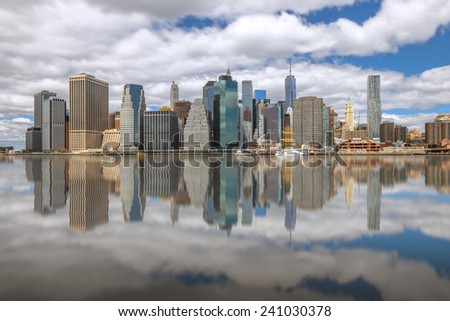 Lower Manhattan skyline,view from Brooklyn Bridge Park. - stock photo
