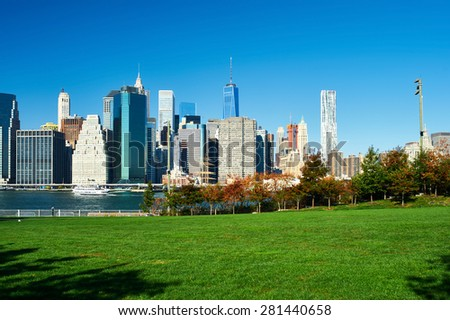 Lower Manhattan skyline view from Brooklyn Bridge Park in New York City - stock photo