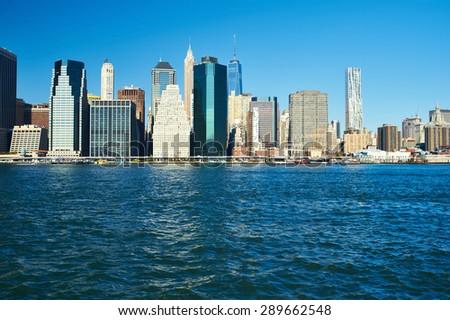Lower Manhattan skyline view from Brooklyn in New York City - stock photo