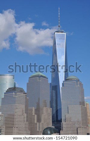 Lower Manhattan Skyline with One World Trade Center - stock photo