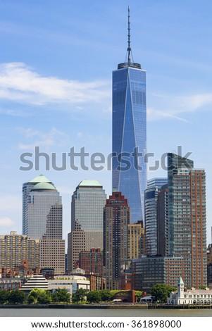 lower Manhattan skyscrapers, New York, USA. - stock photo