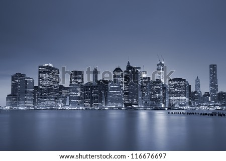Lower Manhattan. Toned image of Lower Manhattan at twilight blue hour.