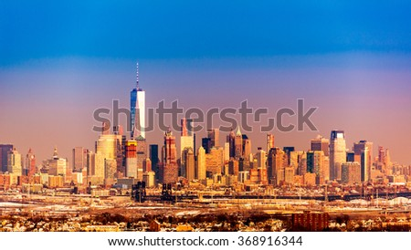 Lower Manhattan under at sunset as viewed from Eagle Rock reservation, New Jersey,  - stock photo