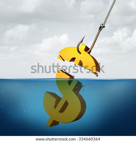 Lower returns business concept as a three dimensional dollar sign in the water with a fishing hook pulling a portion of the financial symbol as a profit taking metaphor for inferior performance. - stock photo