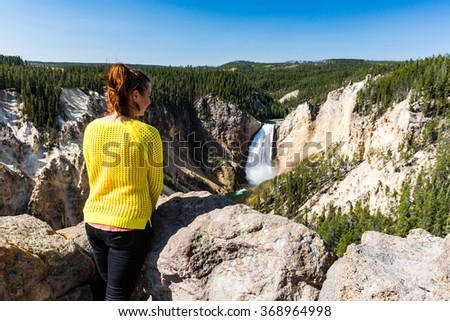 Lower Yellowstone Falls in the Yellowstone National Park, USA - stock photo
