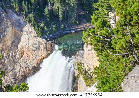 Lower Yellowstone Falls - Yellowstone National Park, Wyoming - USA  - stock photo