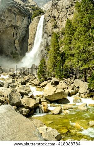 Lower Yosemite Waterfall in Yosemite National Park - stock photo