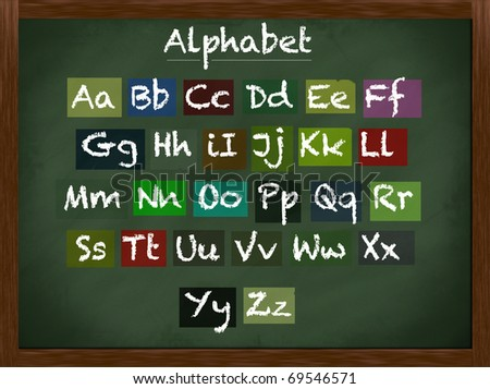 Lowercase and uppercase alphabet on a framed blackboard - stock photo