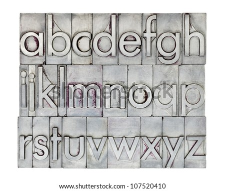 lowercase English alphabet  in vintage metal letterpress type, square composition isolated on white - stock photo