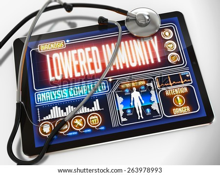 Lowered Immunity - Diagnosis on the Display of Medical Tablet and a Black Stethoscope on White Background.