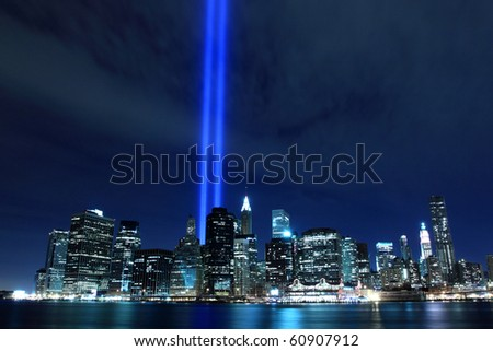 Lowers Manhattan Skyline and the Towers Of Lights at Night - stock photo
