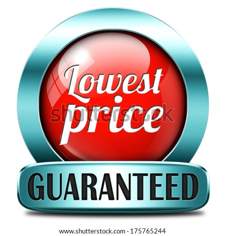 lowest price special offer bargain and sales discount red icon label sticker or sign - stock photo
